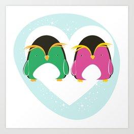Pinguini innamorati Art Print