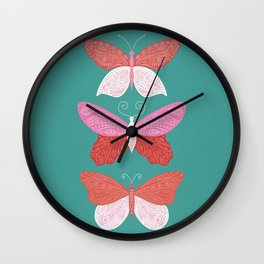 Tattooed Butterflies – Turquoise & Pink Wall Clock