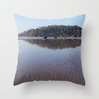 monkey island Throw Pillows featuring Across the Water to Monkey Island, Palolem by Serenity Photography