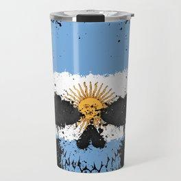 Flag of Argentina on a Chaotic Splatter Skull Travel Mug