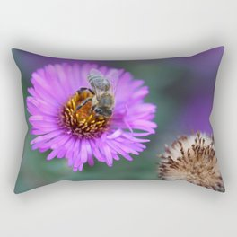 Bee on a violet flower Rectangular Pillow