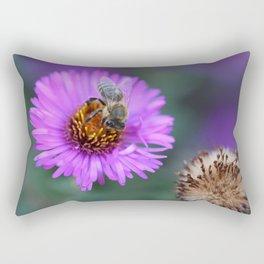 Bee on a violet flower Rectangular Pillow