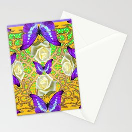 LILAC PURPLE BUTTERFLIES ABSTRACT GARDEN Stationery Cards