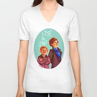 johnlock V-neck T-shirts featuring Sherlock and John by Hattie Hedgehog