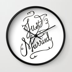 Just Married - hand lettered wedding sign, clligraphy Wall Clock
