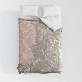 Floral Pattern Dahlias, Blush Pink, Gray, White Comforters