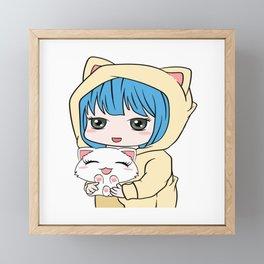 Anime Cat Lover Shirt For Kawaii Fans T-shirt Design Manga Otaku Animation Character Star Eyes Framed Mini Art Print
