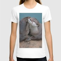 otters T-shirts featuring Big Hugs by Fran Walding