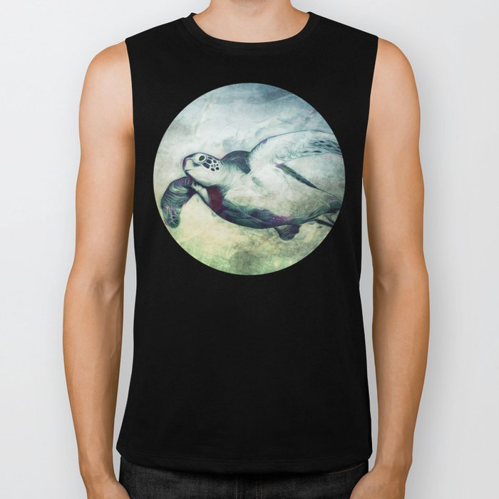 Flying Green Sea Turtle Biker Tank