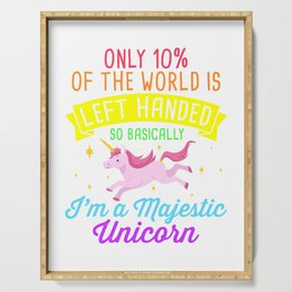 Left Handed majestic unicorn for left handers Serving Tray