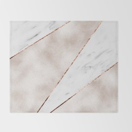 Spliced rose gold marble Throw Blanket