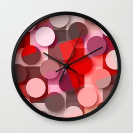 dots & squares red Wall Clock