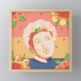 Abstract greek head with flower patterns Framed Mini Art Print