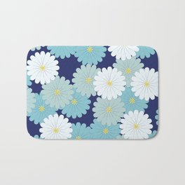 Blue oriental flowers Bath Mat