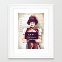 snow white Framed Art Prints featuring Snow white by adroverart