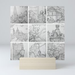 Prague sketches, part one by David A Sutton. sketchbookexplorer.com Mini Art Print
