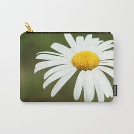 Delicate blossoming garden daisy, classic photo, single white flower, close up nature photography Carry-All Pouch