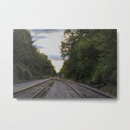 Golden hour at the tracks Metal Print