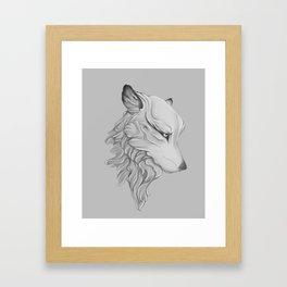Wolf gaze Framed Art Print