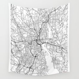 Providence Map White Wall Tapestry
