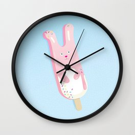 pink bunny ice lolly Wall Clock