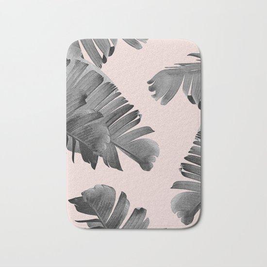 Black and pink palm leaves Bath Mat