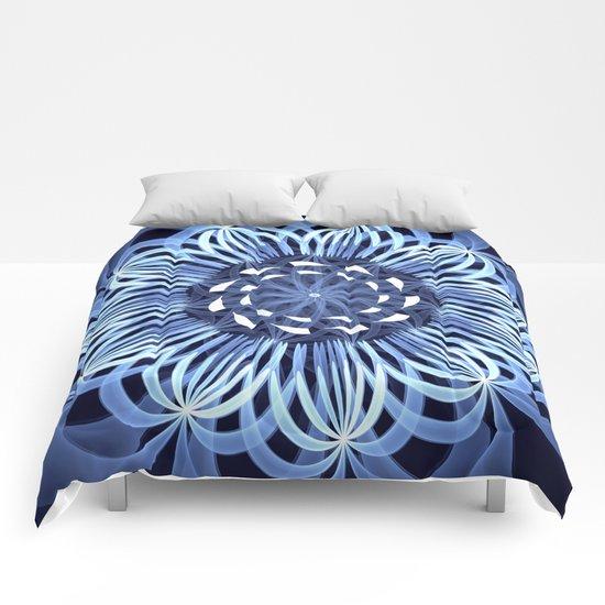 Sky blue fantasy pattern flower Comforters