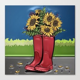 Red Rainboots & Sunflowers Canvas Print