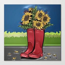 Red Rainboots & Sunflowers Canvas Print
