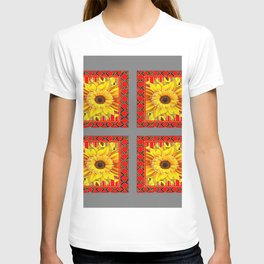 DECORATIVE TEAL-RED & YELLOW SUNFLOWER GREY DECO FLORAL T-shirt