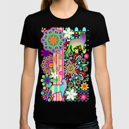 Mandalas, Cats & Flowers Fantasy Pattern T-shirt