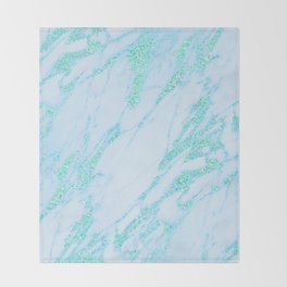 Teal Marble - Shimmery Glittery Turquoise Blue Sea Green Marble Metallic Throw Blanket