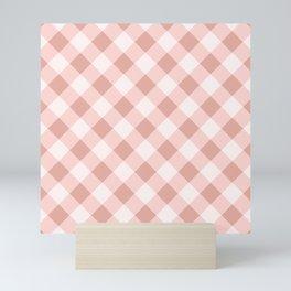Diagonal buffalo check pale pink Mini Art Print