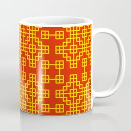 Chinese grid pattern in traditional colors Coffee Mug