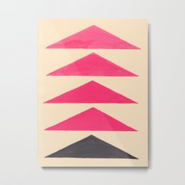 Colorful Pink Geometric Triangle Pattern With Black Accent Metal Print
