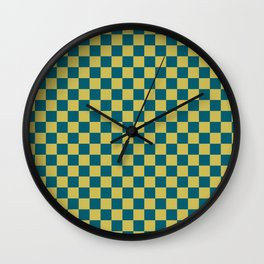 Dark Yellow and Tropical Dark Teal Inspired by Sherwin Williams 2020 Trending Color Oceanside SW6496 Small Checker Board Pattern Wall Clock