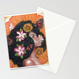 Summer Time Black Woman Stationery Cards