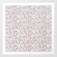 Paper Airplanes Blush Art Print