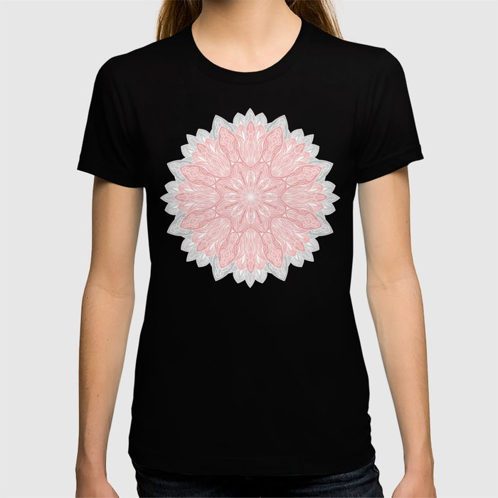 MANDALA IN GREY AND PINK T-shirt
