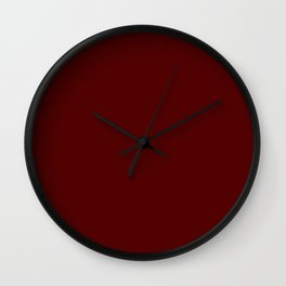 Deep Gothic Rose Red - Solid Plain Block Colors - Rich / Blood / Halloween / Luxurious Colours Wall Clock