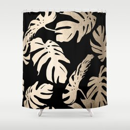 Simply Palm Leaves in White Gold Sands on Midnight Black Shower Curtain