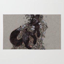 Black Fox and Star Flower Jasmine Tangle Rug