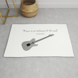 Guitars with a famous quote. Music is an outburst of the soul by Frederick delius Rug