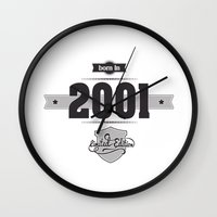 2001 Wall Clocks featuring Born in 2001 by ipiapacs