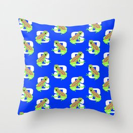 Frogs For Sunday in August Throw Pillow