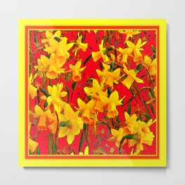 Tomato Red Art Yellow Scattered Daffodils Metal Print
