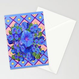 Blue Diamond Patterns Morning Glories Art Stationery Cards