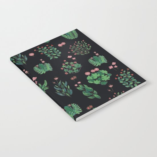 green and black garden with red flowers Notebook