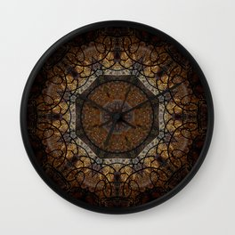 Rich Brown and Gold Textured Mandala Art Wall Clock