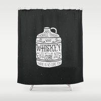 whiskey Shower Curtains featuring WHISKEY by magdam